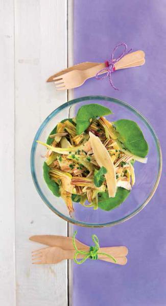 Insalata di carciofi, menta e olio allo zenzero