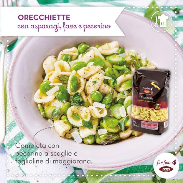 Orecchiette con asparagi, fave e pecorino